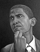 United States Government Painting Framed Prints - Barack Obama Framed Print by Theresa McFarlane Stites