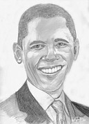 President Barack Obama Drawings Framed Prints - Barack Obama Framed Print by Tibi K