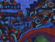 Obama Drawings Posters - Barack Obama Unity Poster by Linda Kinchley