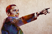 44th Prints - Barack Obama Watercolor Print by Stefan Kuhn
