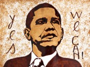 Barack Obama  Painting Prints - Barack Obama Words of Wisdom coffee painting Print by Georgeta  Blanaru