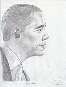 Graphite Prints - Barak Obama Print by Jose Valeriano