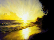 West Indies Digital Art Prints - Barbados West Coast Sunset Print by Ian  MacDonald