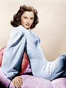 Cushion Metal Prints - Barbara Stanwyck, Ca. 1946 Metal Print by Everett
