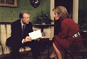 Carter House Prints - Barbara Walters Interviewing President Print by Everett