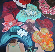 Kentucky Derby Paintings - Barbaras Derby Hats by Dani Altieri Marinucci