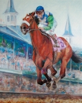 Kentucky Derby Painting Metal Prints - Barbaro - Horse of the Nation Metal Print by Leisa Temple