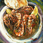 French Quarter Painting Prints - Barbequed Shrimp Print by Dianne Parks