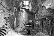 Gloomy Framed Prints - Barber - Chair - Eastern State Penitentiary - Black and White Framed Print by Paul Ward