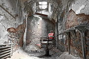 Gloomy Framed Prints - Barber - Chair - Eastern State Penitentiary Framed Print by Paul Ward