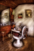Hair Dresser Framed Prints - Barber - In The Barber Shop  Framed Print by Mike Savad