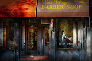 Hair Dresser Framed Prints - Barber - NY - Greenwich Village - West Village Barber Shop  Framed Print by Mike Savad