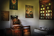 Hair Dresser Framed Prints - Barber - The Cash Register  Framed Print by Mike Savad