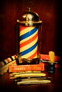 Barbering Prints - Barber - barber pole Print by Paul Ward