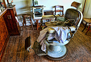 Brown Clipper Photos - Barber Chair with child booster seat by Paul Ward