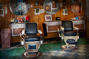 Chairs Framed Prints - Barber - Frenchtown NJ - Two old barber chairs  Framed Print by Mike Savad