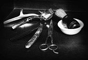 Barbering Prints - Barber - Things in a barber shop - black and white Print by Paul Ward
