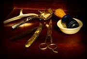 Cut Throat Razor Prints - Barber - things in a barber shop Print by Paul Ward