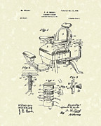 Chair Drawings Prints - Barbers Chair 1901 Patent Art Print by Prior Art Design