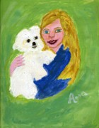 Barbie Paintings - Barbie and Nellie by Anna Angelou