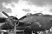 North American B-25h Mitchell Photos - Barbie I I I in Black and White by Lynda Dawson-Youngclaus