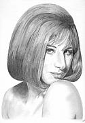 Celebrity Drawings Framed Prints - Barbra Streisand Framed Print by Rob De Vries