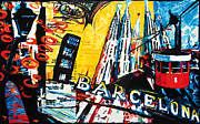 Pablo Mixed Media Posters - Barcelona Poster by Gerald Herrmann