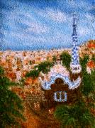 Barcelona Mixed Media Prints - Barcelona. Park Guell  Print by Nina Nabokov