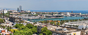 Aerial Tramway Framed Prints - Barcelona Port Vell Panorama Framed Print by JH Photo Service