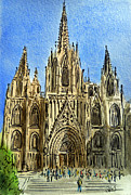 Europe Painting Framed Prints - Barcelona Spain Framed Print by Irina Sztukowski