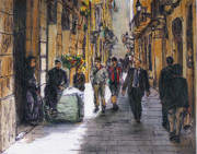 Barcelona Painting Originals - Barcelona Street Sketch by Randy Sprout