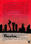 Urban Buildings Drawings Posters - Barcelona Sunset Poster by Jera Sky