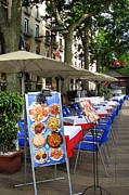 Cafe Umbrellas Posters - Barcelona Tapas Bar Poster by Carla Parris