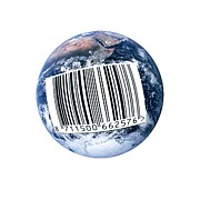 Labelled Prints - Barcoded Earth, Conceptual Image Print by Victor De Schwanberg