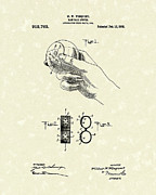 Baseball Art Drawings Metal Prints - Bare Ball Curver 1909 Patent Art Metal Print by Prior Art Design