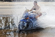 Two Wheeler Photo Framed Prints - Bare Chest Rider Splash Framed Print by Kantilal Patel