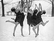 Raised Arms Posters - Barefoot Dance In The Snow Poster by Underwood Archives