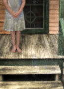 Wooden Stairs Posters - Barefoot Girl on Front Porch Poster by Jill Battaglia
