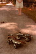 Roller Skates Posters - Barefoot Girl on Sidewalk with Roller Skates Poster by Jill Battaglia