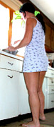 Housework Prints - Barefoot in the kitchen Print by Thomas R Fletcher