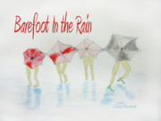 Colored Pencil Metal Prints - Barefoot In The Rain Metal Print by Donna Blackhall