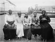 Emigration Photo Posters - Barefoot Women Immigrants At Ellis Poster by Everett
