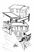 Tops Drawings Framed Prints - Barga Rooftops Framed Print by Leah Wiedemer