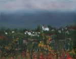 Autumn Vineyards Paintings - BargaThrough the Fog by Leah Wiedemer