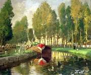 Charles River Paintings - Barge on a River Normandy by Rupert Charles Wolston Bunny