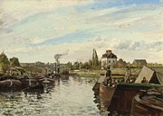 Sailboats At The Dock Painting Framed Prints - Barge on the Seine at Bougival Framed Print by Camille Pissarro