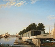 Calm Paintings - Barges at a Mooring by Unknown