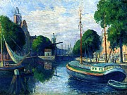 Dutch Framed Prints - Barges on a Canal at Rotterdam Framed Print by Maximilien Luce
