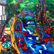 Riverwalk Paintings - Barges On The Riverwalk by Patti Schermerhorn