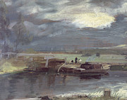 Pond Paintings - Barges on the Stour with Dedham Church in the Distance by John Constable